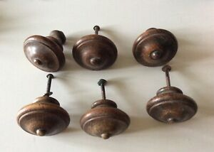 Set 6x Antique French Wooden Chest Drawer Door Handle Knobs