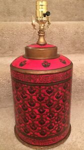 Red Hand Painted English Tole Tea Caddy Lamp