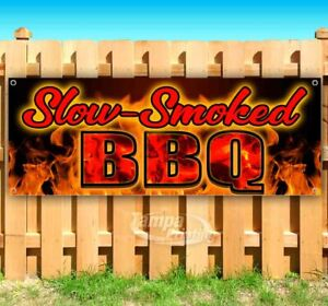 Slow smoked Bbq Advertising Vinyl Banner Flag Sign Many Sizes Usa