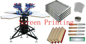 4 Color T shirt Printing Kit vertical Screen Printing Machine With Materials New