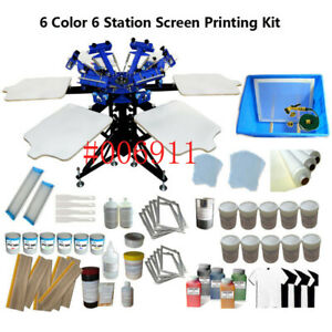 New Sale 6 color Screen Printing Machine full Set Of Printing Supplies For Diy