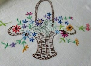 Vintage Tablecloth Hand Embroidered Baskets Of Flowers Linen