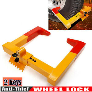 Steel Wheel Chock Lock Anti theft Towing Auto Car Truck Security Claw Trailer Us
