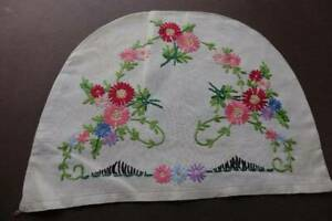 Vintage Irish Linen Hand Embroidered Tea Cosy Cover Pink Flowers