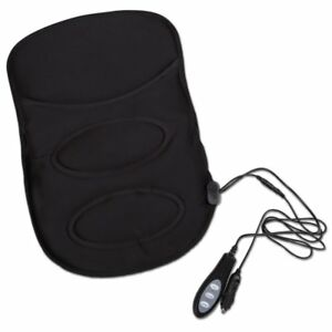 Zone Tech Heated Back Massage Chair Cushion Car Seat Home Pad With Ac Adapter