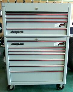 Snap on Limited Edn Arctic Gray 40 7 Drawer Roll Cab 4 Drawer Top Chest