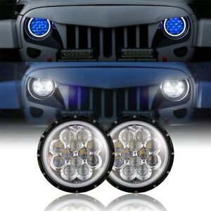 7 Inch Halo Led Headlights W Blue Drl Angel Eyes For Jeep Wrangler Jk Tj 97 18
