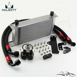 19 Row Engine Oil Cooler Kit W filter Adapter For Wrx Sti 06 07 Ej20 Ej25 Silver