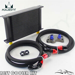 25 Row British Type Oil Cooler Kit For Bmw Mini Cooper S Supercharger R53 Black