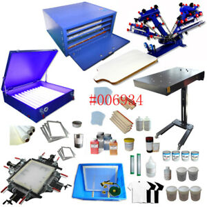 Silk Screen Printing Device 4 Color 1 Station With Flash Dryer dry Cabinet Etc