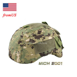 Emerson Tactical Airsoft Military MICH 2001 Ver2 Helmet Cover W Back Pouch AOR2