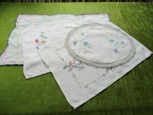 Vintage Tray Cloths Hand Embroidered Col X 4 Linen