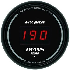 Auto Meter 6349 Gauge Trans Temp 2 1 16 340 Digital Black Dial W Red Led