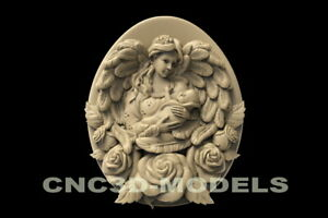 3d Stl Model For Cnc Router Carving Artcam Aspire Wings Baby Girl Angel D154