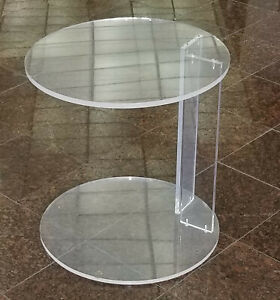 Chic Vintage 1970 S Lucite Round Top Base Occasional Side Table