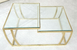 Vintage 1970 S Leon Rosen For Pace Gilded Split Two Level Glass Top Coffee Table
