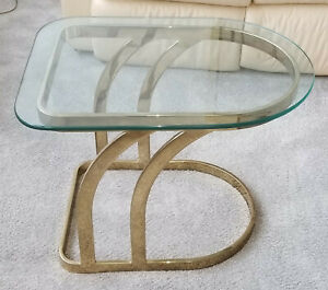 Vintage 1970 S Leon Rosen For Pace Gilded Luna Glass Top Occasional Side Table