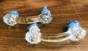 1920s Pair Of Antique Vintage Clear Glass Drawer Pulls Knobs Perfect