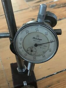 Vintage Mitutoyo Dial Indicator No 2412 001 400 On Bf Magnetic Base