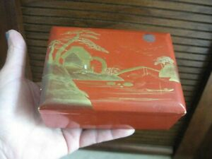Japanese Lacquer Ware Hinged Lidded Box Vtg Wood 4 3 4 X 3 1 2 X 2 Tall