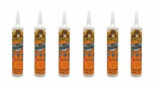 pack Of 6 gorilla Clear 100 Percent Silicone Sealant Caulk Waterproof 10 Ounce