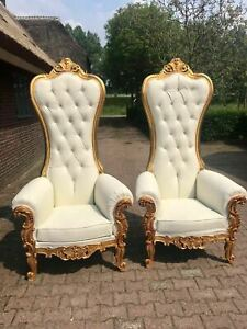 Two Chairs In Tufted White And Gold Leaf Finish