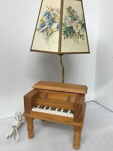Vintage Piano Table Lamp Piano Shaped Wooden W Compartment Electric 18 W Shade
