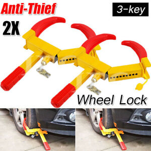 2pcs Wheel Lock Clamp Boot Tire Claw Trailer Auto Car Truck Anti Theft Towing Us