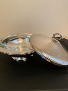 Pyrex Dish With Silver Plated Serving Tray