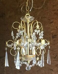 Light Lamp Victorian Gold Chandelier Vintage Prisms Hall
