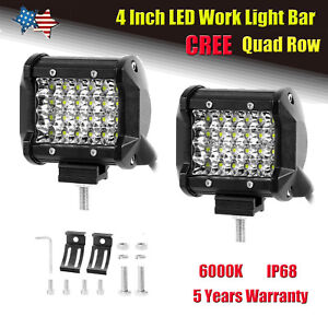 Quad Row 4inch 240w Spot Beam Cree Led Work Light Bar Offroad Fog Driving Backup