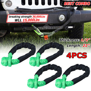 4pcs Green 1 2 Synthetic Rope Soft Shackle 38000lb Strap Wll 15000lb 7 5 Tons