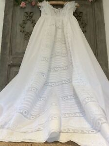 Antique French Baby Christening Gown Exquisite Intricate Whitework Broderie Lace