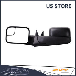 Manual Tow Mirrors None Heated Pair For 1994 2002 Dodge Ram 1500 2500 3500 Black