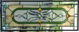Stained Glass Transom Window Hanging 32 X 12 3 4