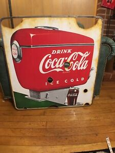 RARE ORIGINAL DOUBLE DISPENCER FOUNTAIN SERVICE PORCELAIN COCA COLA SIGN