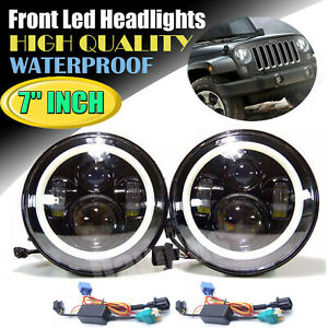 Led Headlights Dot 7inch 2pcs Offroad Driving Lights For Jeep Wrangler Jk 07 17