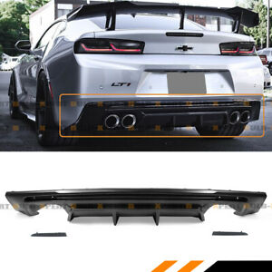For 2016 19 Chevy Camaro Shark Fin Rear Bumper Diffuser W Smoked Reflector Lens