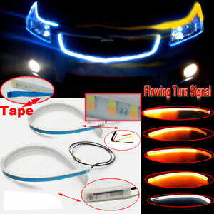 2x 90led Drl Light Strip Daytime Running Lights Sequential Flow Turn Signal Tape