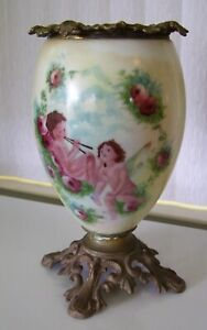 Vintage 1920s Fostoria Oil Lamp Base Cherub Angels Cupid Gone With The Wind
