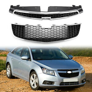 2x Front Bumper Upper Lower Grille Inserts Trim Covers For 09 14 Chevy Cruze Us