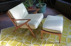 1960s Vintage Poul Jensen For Selig Of Denmark Z Lounge Chair And Ottoman Mcm