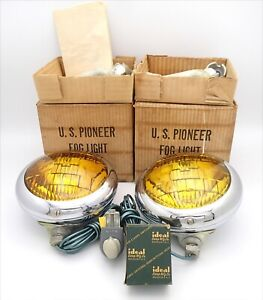 Nos Vintage Us Pioneer No 143 Fog Lights 6 Volt In Box W Complete W Ideal Switch