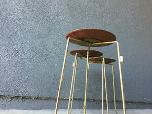 3 Tony Paul Walnut Brass Side Table Vintage Stool Side Table Mid Century Modern