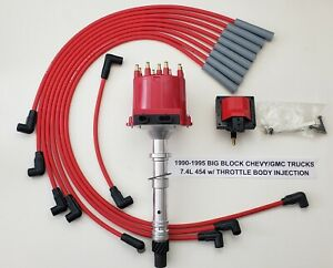 1990 1995 Chevy gmc Trucks 7 4l 454 Tbi Distributor Red Spark Plug Wires coil