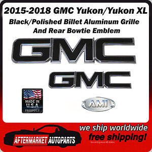Gmc Yukon Xl 2015 2018 Black Polished Aluminum Grille Rear Emblem Ami 96515kp