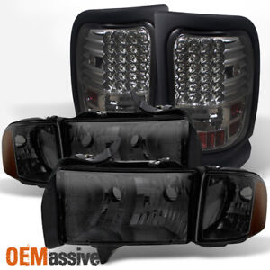 Fit Smoked 99 02 Dodge Ram Sport Model Pickup Truck Headlights Led Tail Lights