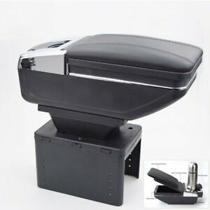 Black Pu Leather Universal Car Central Console Container Armrest Box Cup Holder