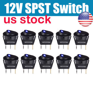 10x Rocker Switches Round Toggle On Off Car Snap In Switch Blue Led Us Shipping