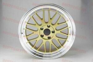 18x8 0 Gold Lm Style Machined Lip Wheels Fits Audi A3 A4 S3 S4 5x112